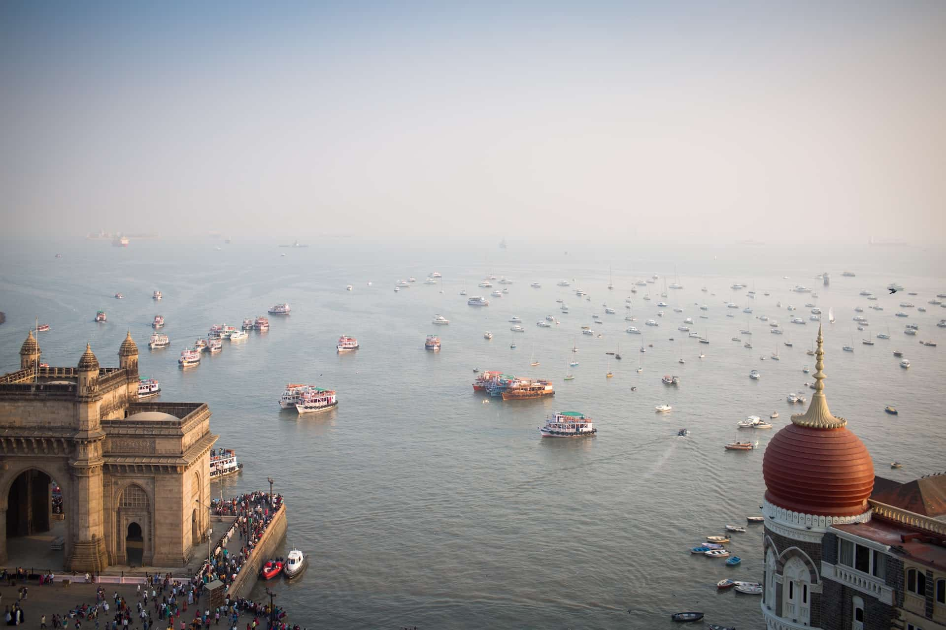 Mumbai Gateway of India and Arabian Sea.