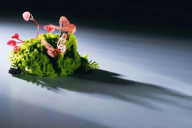 Gaggan Anand's dish called:Butterfly, a dish made with basil sponge, chilli ice cream and sesame rocks. Courtesy Taj Hotels