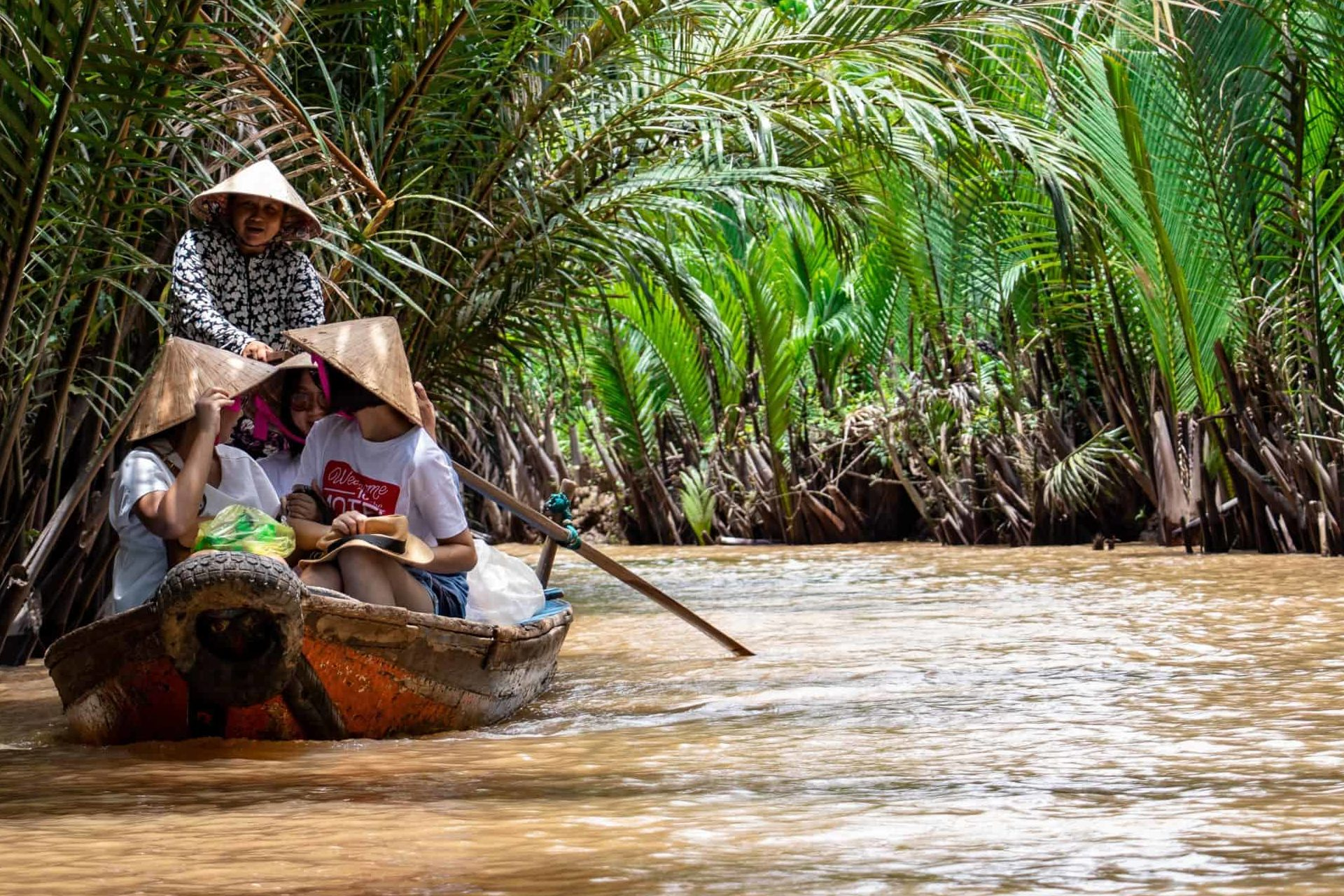Cruise through Mekong River Delta, which is 10. biggest river in the world. You can get there from Ho Chi Minh city in about 1.5 hour and enjoy cruise like this