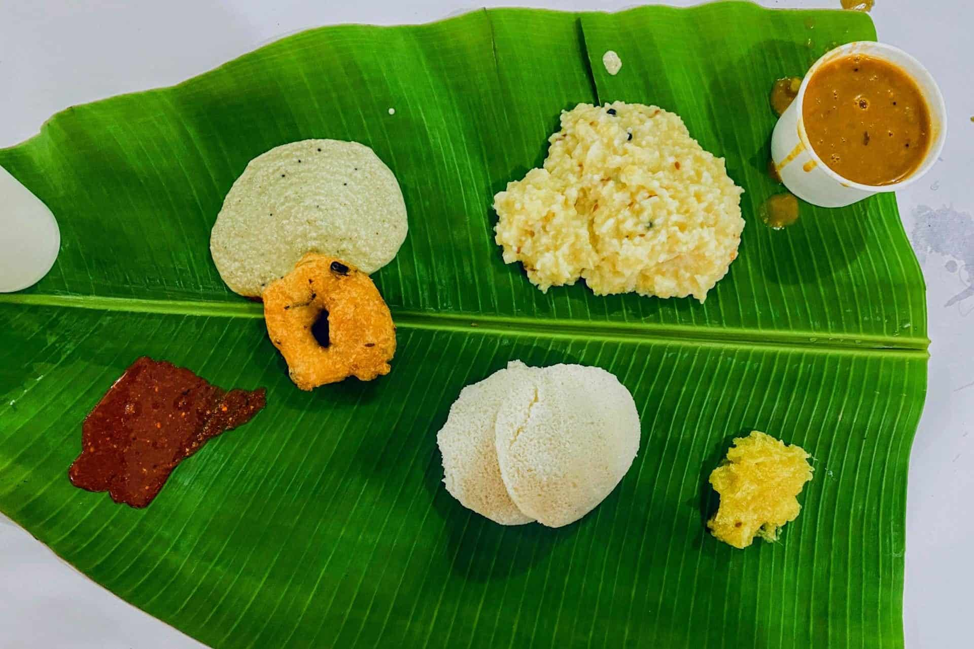 Pongal South Indian breakfast on a banana leaf